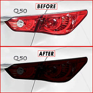 FOR 14-17  Infiniti Q50 Tail Light & Reflector SMOKE Precut Vinyl Tint Overlays