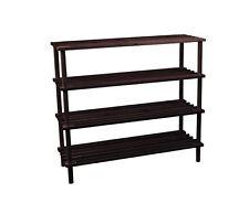 Home Discount 4 Tier Wood Storage Organiser Shoe Stand Rack H67 x W74 Dark Oak