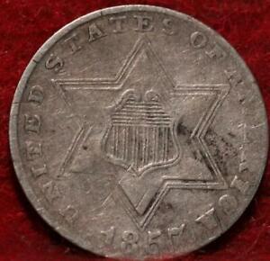 1857 Philadelphia Mint Silver Three Cent Coin