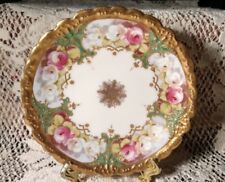 #2 LIMOGES FRANCE CABBAGE ROSE CABINET BREAD PLATE GORGEOUS FLORAL & RAISED GOLD