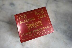 "Vintage ""ILLINOIS"" BLASTING CAPS TIN 100 No. 6 Caps Mining Construction Blasting"