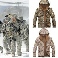 New Mens Fleece Linning Camouflage Military  Hooded Coat Army Jacket Outweear