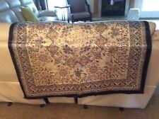 "HUALI 100% Silk Scarf Large Square Shawl Blue Gold Flower Pattern 40"""