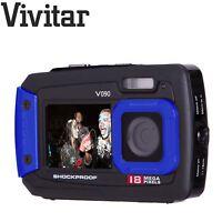 Vivitar Black Blue 18 Mega Pixel Selfie Dual Screen Waterproof Digital Camera