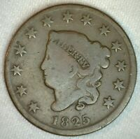 1825 Coronet Head US Large Cent Copper Coin Good Grade 1c US Penny Coin