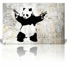 "Wall26 - ""Stick'em up"", Banksy Artwork - Panda Bear with Handguns - Canvas-16x24"