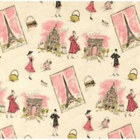 French France Paris Tres Chic canvas cotton Fabric by the yard