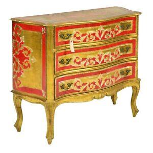 Chest / Dresser, Red and Gold Florentine 3 Drawer, Vintage / Antique, Handsome!