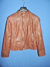 Bernardo M Brown Faux Leather Jacket Vegan Lined Banded Collar Coat Zip Snap Md