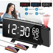 2xUSB Digital Radiowecker &Projektion Uhrenradio UKW Schlummer Alarm Tischuhr