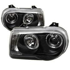 Chrysler 05-10 300C Black Dual Halo LED Projector Headlights C Sedan C SRT-8