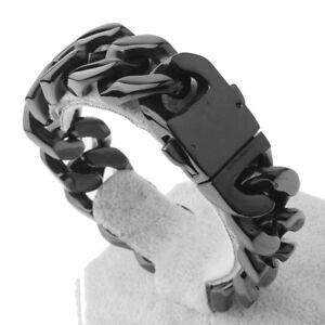 """20mm Heavy Black Tone Stainless Steel Curb Cuban Biker Men's Chain Bracelet 8.5"""""""