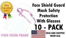 10 PACK Face Shield Guard Mask Safety Protection With Glasses - PINK COLOR