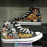 Converse All Star Super Mario Bros Scarpe Disegnate Handmade Paint Uomo Donna Cl