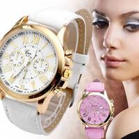 Fashion Women Geneva Wrist Watches Leather Analog Quartz Ladies Dress Watch UK