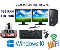 FAST DELL COMPUTER DUAL SCREEN 2 X 17 INCH MONITOR WINDOWS 10 WIFTB HDD