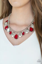 """Clique-bait"" Red Necklace Set By Paparazzi"