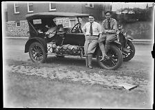 Antique 2 1/2 x 3 1/2 Glass Plate Negative Antique Car Western Trip 1927