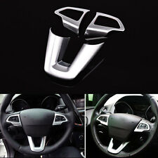 3pcs ABS Silver Chrome Interior Steering Wheel Cover Trim Fit For Focus 2015-17
