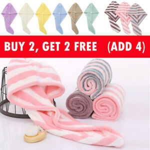 Microfiber Quick Dry Towel Hair Magic Drying Turban Wrap Hats Shower With Button