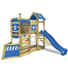 WICKEY Spielturm Klettergerüst SteamFlyer Schaukelgestell mit blauer Rutsche