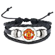 Manchester United Adjustable Leather & Glass Cabachon Wristband