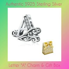 Genuine Sterling Silver Letter A Cubic Zirconia Charm Bead / Pendant & Gift Box