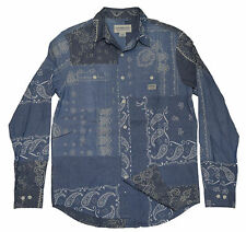 Polo Ralph Lauren Denim Supply Patchwork Paisely Bandana Shirt Blue Navy Medium
