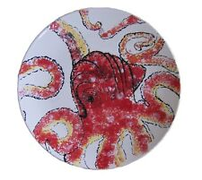 "Blue Sky Clayworks Octopus Ceramic Dinner Plate Round Platter 11.25"" D, Red"
