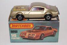 MATCHBOX SUPERFAST #16 PONTIAC FIREBIRD, CHAMPAGNE GOLD, EXCELLENT, BOXED