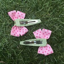 2x Baby Toddler Girl Hair Clips pairs packed BOWtique Alligator -Pink Spots