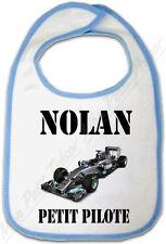 Bavoir Bébé Bleu Formule 1 avec prénom personnalisé