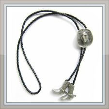 """RODEO HORSE HAT BOOT SPURS COWBOY LIFE """" PURE SILVER PLATING """"  WESTERN BOLO TIE"""