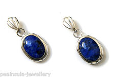 9ct White Gold Lapis Lazuli Drop earrings Made in UK Gift Boxed