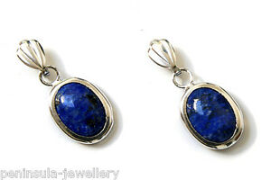9ct White Gold Lapis Lazuli Earrings Oval Drop Made in UK Gift Boxed Birthday