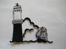 #3791 Lighthouse and Sailing Boat Embroidery Iron On Applique Patch