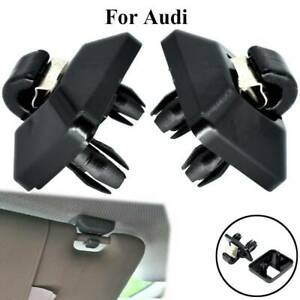 2pcs Black Sun Visor Clip Holder For Audi A3 A4 A5 Q2 Q3 Q5 TT RS3 RS4 Hooker