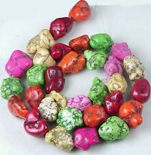 13-16mm Colorful Turquoise Spider Web Nugget Beads 16""