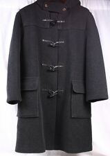 GLOVERALL Duffle Wool Black Dark Gray Over Coat Long Jacket Women EU 40 US 10