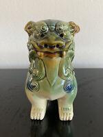 Asian Temple Foo Dog Dragon Glazed Ceramic Figurine Bookend Statue