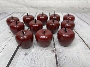 12 Vintage Small Wooden Faux Red Apples/Tomato Decor Farm House Cottage EUC