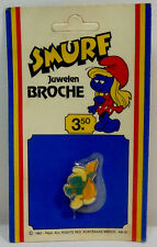 PEYO VTG 1983 SMURFS BANJO SMURF JEWELRY PIN BROOCH IN SEALED UN-PUNCHED CARD