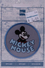 Wrights Mickey Mouse Iron On Applique Grey Blue Badge Disney Appliques M211.06