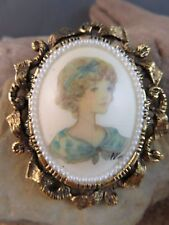 Color Portrait Brooch Pin Signed #401 Vintage Mid Century Modern Blue Young Lady