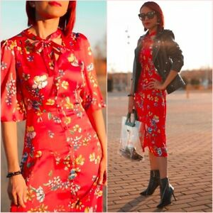 Floral Red Oriental Floral Flowy Short Sleeve Midi Dress XS UK 6 US 2 Blogger ❤