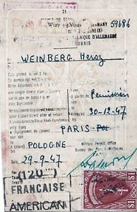1947 AMG Passport Page with $1 Large Red stamp issued at Paris -  MTPS