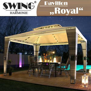 LED - Rattan Pavillon 3x4m Polyrattan Garten Pavilon Gartenmöbel Partyzelt