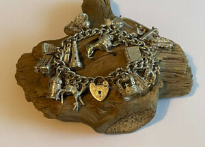 Vintage Sterling Silver Charm Bracelet & Charms Opening 86.6 Charms Grams Ladies