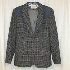 Vtg Pendleton Size 10 Western Blazer Jacket Houndstooth Suede Gray Medium Womens