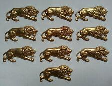 LOT 10 anciens ORNEMENTS FORME LION doré DECORATIONS pour MEUBLES BOITES BIJOUX